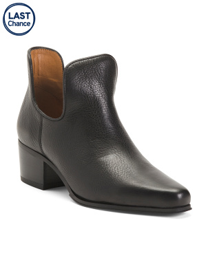Leather Square Toe Stacked Heel Booties