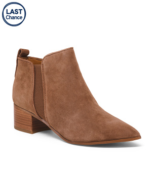 Suede Pointy Toe Chelsea Booties