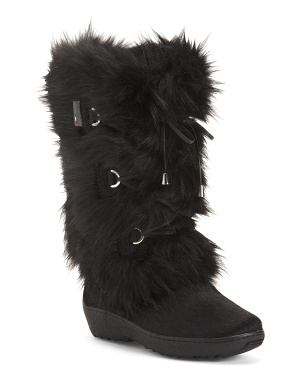 Made In Italy Faux Fur Leather Trim Winter Boots