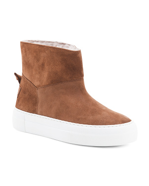Made In Italy Shearling Suede Booties