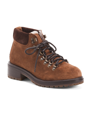 Made In Italy Shearling Lined Suede Hiking Boots