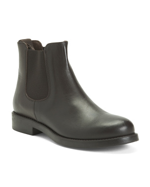 Made In Italy Leather Chelsea Booties