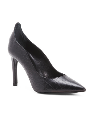Made In Italy Leather Croc Pumps