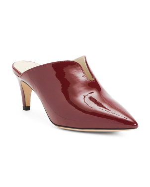 Made In Italy Patent Leather Mules With V Cut Out