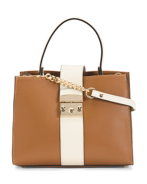 Leather Color Block Satchel