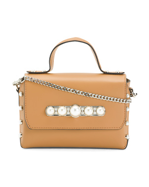Leather Crossbody With Pearl Details