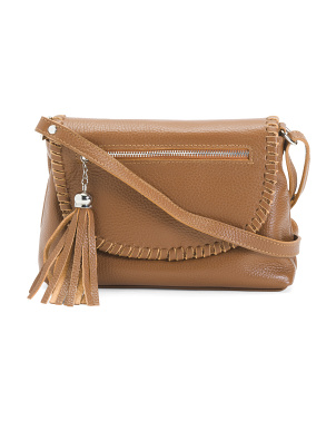 Made In Italy Whipstitch Leather Crossbody