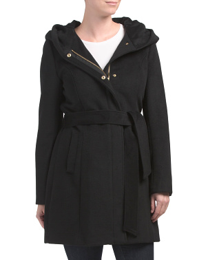 Boucle Hooded Wrap Coat