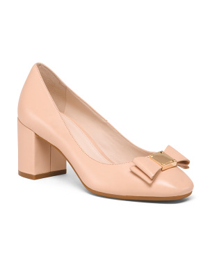 Leather Comfort  Pumps With Bow Detail
