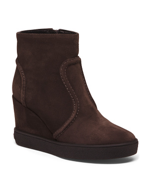 Made In Italy Shearling Wedge Suede Boots