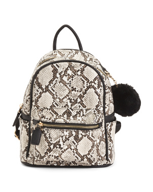 Animal Print Mini Backpack With Pom