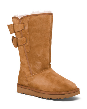 Shearling Lined Double Bow Suede Boots