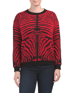 Made In Italy Wool Blend Zebra Sweater