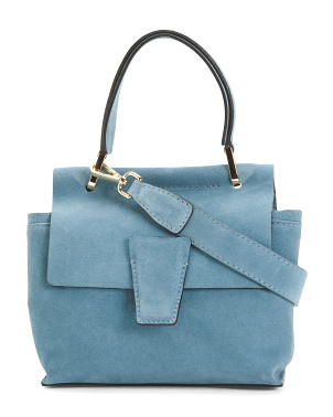 Made In Italy Suede Flap Over Satchel