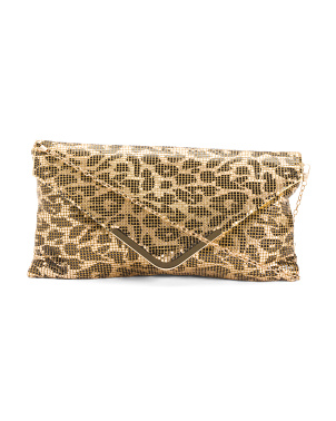 Metallic Mesh Envelope Clutch