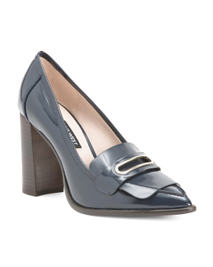 Buckle Detail Pointy Toe Leather Pumps
