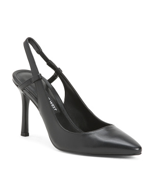 Sling Back Leather Pumps