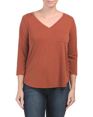 V-neck Three-quarter Sleeve Top