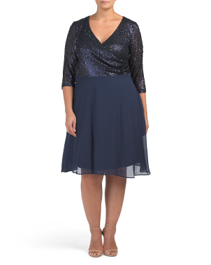 Plus Long Sleeve Fit And Flare Sequin Dress