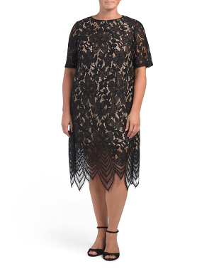 Plus Lace Elbow Sleeve Dress
