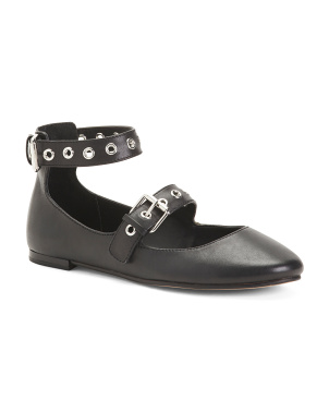 Ankle Strap Leather Ballet Flats