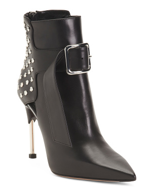 Made In Italy Studded Leather Pointy Toe Booties
