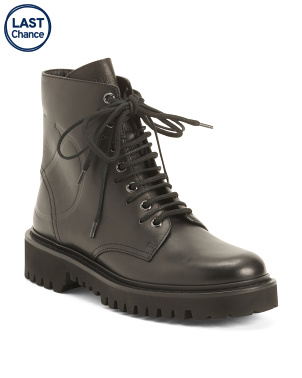 Made In Italy Lug Sole Leather Combat Boots