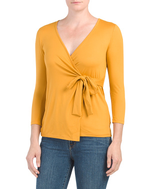 Three-quarter Sleeve Butter Wrap Top