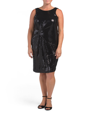 Plus Sequin Dress With Twist Detail