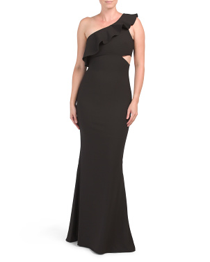 One Shoulder Gown With Side Cutout
