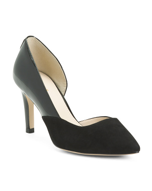 Suede And Patent Leather Pumps