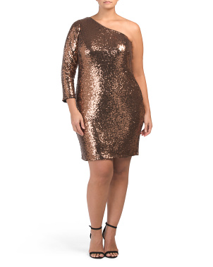 Plus One Shoulder Sequin Dress