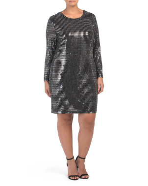 Plus Metallic Long Sleeve Dress