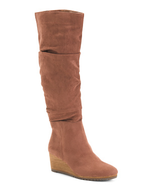 Wedge Knee High Comfort Boots