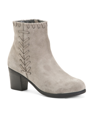 Wide Suede Whipstitch Booties
