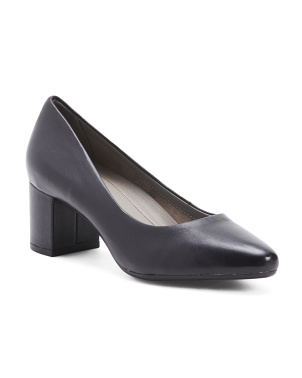 Wide Block Heel Patent Leather Pumps
