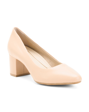 Block Heel Leather Pumps