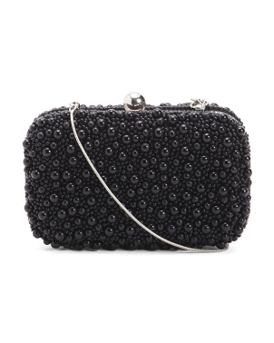 Mercela Box Clutch With Faux Pearls