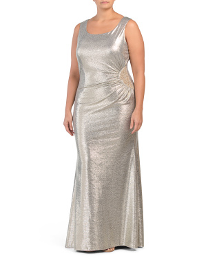 Made In Usa Plus Long Metallic Gown
