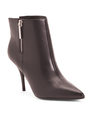 Side Zip Pointy Toe Leather Booties