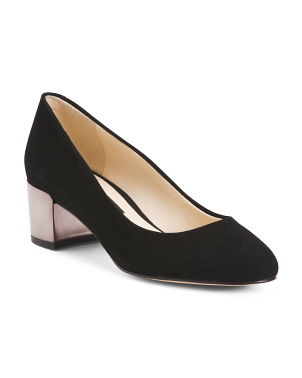 Lucite Low Heel Suede Pumps