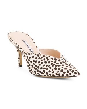 Snow Leopard Printed Haircalf Mules